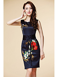 Vestido ajustado sin mangas bordado de la vendimia de las mujeres dlbn