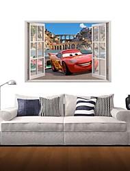 Pegatinas de pared de etiquetas de la pared 3d, historieta roja de la decoración del coche vinilos adhesivos