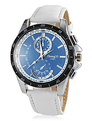 Men's Round Blue Dial PU Leather Band Quartz Wrist Watch Cool Watch Unique Watch