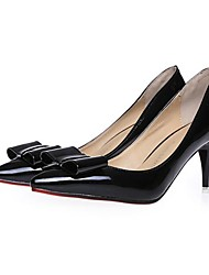 Women's Shoes Leatherette Spring / Summer / Fall Heels / Pointed Toe Dress Stiletto Heel Bowknot Black / Pink / Gray