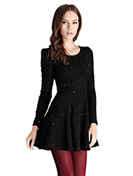 Women's Work A Line / Skater Dress,Solid Round Neck Above Knee Long Sleeve Black Cotton Fall / Winter