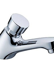 Contemporary Chrome Finished Brass Self-closing Basin Delay Action Tap
