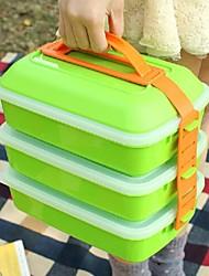 tres capas de la caja de almuerzo de picnic portátil de plástico 26 × 16 × 25 cm (10,3 × 6,3 × 9,9 pulgadas)