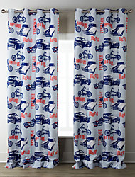TWOPAGES® Two Panels  Retro POP Style CARS Pattern Curtain