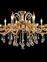 10-light The style of palace Glass Chandelier With Candle Bulb