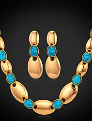 U7® Chain Necklace Dangle Earrings 18K Real Gold Plated Turquoise Stone Choker Necklace Fashion Jewelry Set
