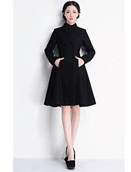 Cyc Women's Solid Color Causual Fashion Tweed Trench Coat