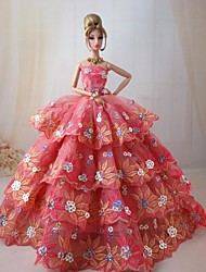 Movie/TV Theme Costumes Dresses For Barbie Doll Pink Dresses For Girl's Doll Toy