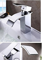 Contemporary Single  Handle One Hole  Waterfall Bathroom Sink Faucet