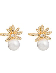 Woman's Fashion Luxury Leafy Crystal Pearl Earrings