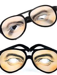 1 Pair Men Eye Print Practical Joke Funny Glasses for Halloween Costume Party(15.5x6cm)
