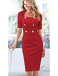 Women's Casual/Lace Round Sleeveless Dresses (Chiffon)