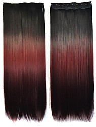 24 Inch Women Straight Black Wine Red Gradient Color Hairpieces