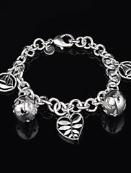 personalidade fashion veleiro coração oco pulseira de prata bola da mulher