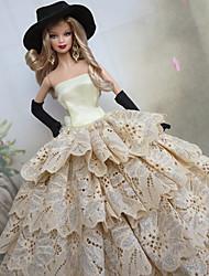 Barbie Doll Polka Dots Ruffles Deluxe White & Black Princess Dress