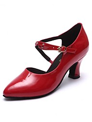 Non Customizable Women's Dance Shoes Modern Patent Leather Chunky Heel Black/Red
