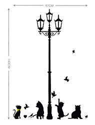 Lovely PVC Under The StreetLights Cats Wall Stickers