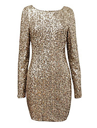 Women'S O-Neck Luxury Sequined Sexy Backless Bodycon Elegant Evening Party Dresses Women Clothing