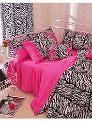Zebra Print Duvet Cover Set Black Pink White Bedding Set Twin Full Queen King Cal King