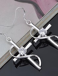 Titanium and Silver Rose Shaped Rhinestone Pierced  Women's Earrings