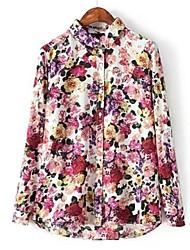 kvinners jakkeslaget trykt bomull langermet skjorte