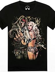 Männer Oansatz Sommer Skelett Mann und beautuful Dame 3d gedruckt Kurzarm-T-Shirt