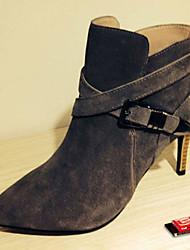 Scarpe Donna - Stivali - Formale - A punta / Stivali - A stiletto - Finto camoscio - Nero / Grigio