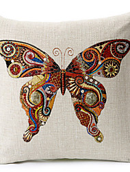 fronha borboleta colorida algodão / linho impresso decorativo