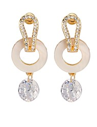 Woman's Fashion Luxury Circling White Crystal Earrings