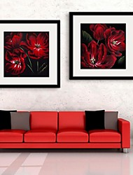 E-HOME® Framed Canvas Art,Red Flowers Framed Canvas Print Set of 2