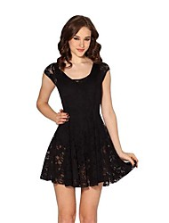 Women's Solid/Lace Black Dress , Sexy/Casual Deep U Short Sleeve