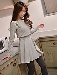 Women's Lace Blue/Gray Dress , Casual/Print/Lace Round Neck Long Sleeve