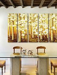 e-home® canvas da arte da flor conjunto pintura decorativa de 5