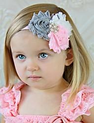 6шт дети мода новорожденных девочек заставку с кнопки звон потрепанный шифона цветок детей Аксессуары