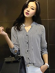 Women's Striped Shirt, V Neck ¾ Sleeve