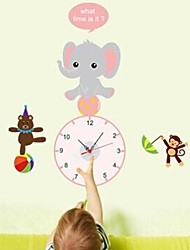 Wall Clock Stickers Wall Decals, Elephant and Battery Feature Removable  PVC Wall Stickers