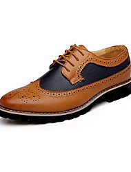 Men's Spring Summer Fall Winter Comfort Leather Casual Low Heel Lace-up Black Brown Yellow