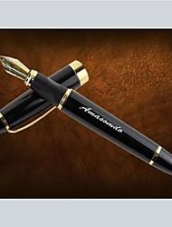 caixa de couro presente personalizado definido com caneta de aço inoxidável fonte lnk (preto ou ouro)