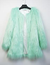 partito manica lunga colletto di eco-pelliccia cappotto di pelliccia moda / cappotto casuale