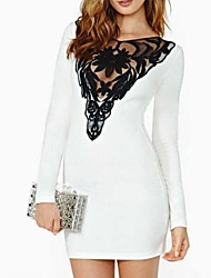 Women's Sexy / Bodycon / Casual / Lace / Party Lace Bodycon Dress , Round Neck Mini Cotton / Polyester / Lace