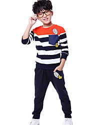 Boy's Fashion Round Collar Stripe Stitching Casual Sport Clothing Sets(T-shirt&Pants)
