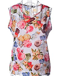 Women's Casual/Daily Simple Spring / Summer Blouse,Floral Round Neck Sleeveless White / Black Thin