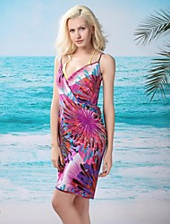 sexy moda femminile rosa fuochi d'artificio rosso profondo-v swimsuit swimwear beachdress bikini cover-up