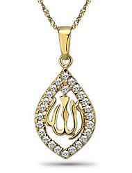 оптовая и розничная 14k позолоченный Аллах ожерелье, бесплатная доставка и мужчин и для женщин CZ кулон ожерелье