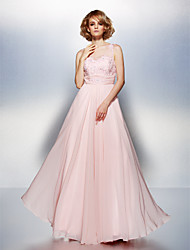 TS Couture Prom Dress - Open Back A-line Scoop Floor-length Chiffon with Appliques Beading Ruching