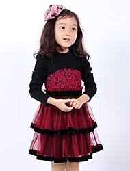 vestido de princesa da menina feita de puro algodão broto de seda vestido de manga longa