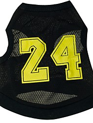 Cat Dog Shirt / T-Shirt Jersey Black Dog Clothes Summer Spring/Fall Letter & Number Sports