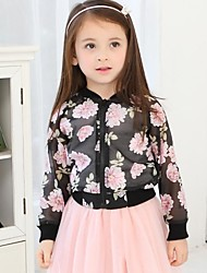 Girl's Floral Blouse / Jacket & Coat,Chiffon / Viscose Fall / Spring Black / White