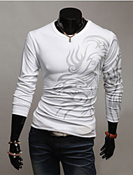 Sherman Men's Fashion Round Neck Printed Long Sleeve Shirt
