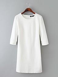 De las mujeres Recto Vestido Casual Un Color Hasta la Rodilla Escote Redondo Punto Romano